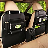 Auto Rückenlehnenschutz, CGBOOM Auto Rücksitz Organizer Wasserdicht PU Leder Kinder Kick-Matten-Schutz mit Multi Lagerung Tasche (1 Stück Schwarz)