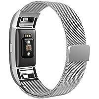 Fitbit Charge 2 Armband,Teorder Milanese Loop Edelstahl Metallarmband mit Verstellbarem Verschluss Magnetverschluss Fitness Ersatzarmband / Austauscharmband für Fit bit Charge 2,(klein/groß)