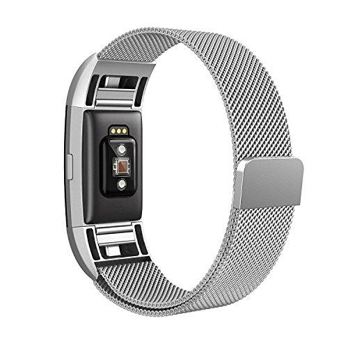 Fitbit Charge 2 Armband,Milanese Schlaufe Edelstahl Armband Smart Watch Armbänder Replacement Handgelenk Band Wrist Strap Watchband Fitness Armband mit einzigartiger Magnetverriegelung für Fitbit Charge 2/ Fitbit HR Ersatzarmbänder,Silber