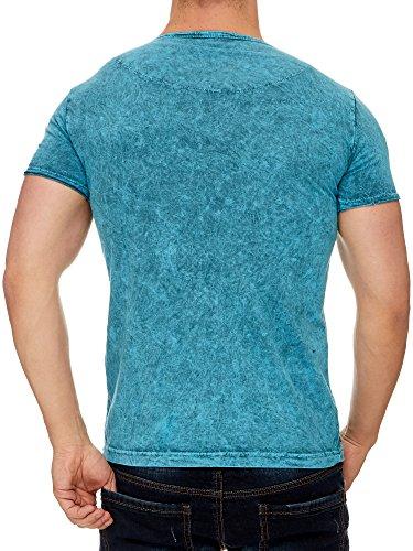 Tazzio Stone Washed Rundhals T-Shirt mit Dufflecoatverschluss 16156 Petrol