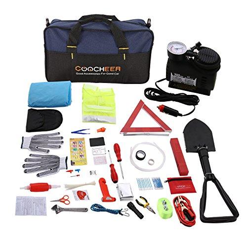erste hilfe auto set Auto Emergency Kit, Multifunktionale Pannenwerkzeugsets mit Starthilfekabel, Werkzeugtasche und Pannenwerkzeug, Sicherheitsweste, Abschleppseil, Taschenlampe, Reifendruckmessgeräte (13