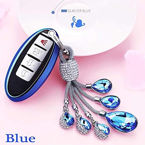 SUNQQB Für TPU Soft Set für Nissan Qashqai j10 j11 x-Trail t31 t32 Schurke tiida Pathfinder Murano Fernbedienung smart Key Cover case Neue Keychain,Blue,Crystal Blue Crystal Case