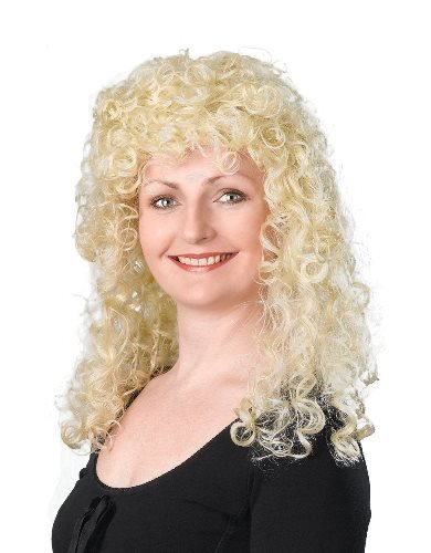 Dolly Parton (Physik) Curly lange Female Fancy Dress Wig – Blonde by Parteien Unwrapped