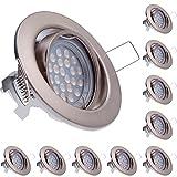 10er LED Einbaustrahler Set Silber gebürstet mit LED GU10 Markenstrahler von LEDANDO - 5W DIMMBAR - schwenkbar - warmweiss - 60° Abstrahlwinkel - A+ - 50W Ersatz - LED Einbauleuchte 5 Watt