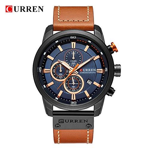 Curren Quartz Uhren Herren, Casual Analoge Quartzuhr, Multifunktionale Militär Sport Wristwatch Männer, Wasserdicht Lederarmband mit Datumsanzeige 8301 (braun-8291)