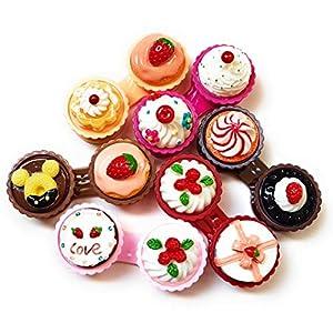 Kontaktlinsenbehälter – Süßer Kontaktlinsenbecher – Kuchen – Monatslinsen – Weiche & Harte Linsen -Torten – Törtchen – 6 Farben – MW Kontaktlinsenbehälter