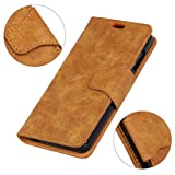 LingDan Schutzhülle für Alcatel A7 XL 7071D (6 Zoll) PU Leder Flip Cover Ledertasche Retro Muster mit Ständerfunktion und Magnetverschluss Kartensteckplatz Brieftasche Hülle (Braun)