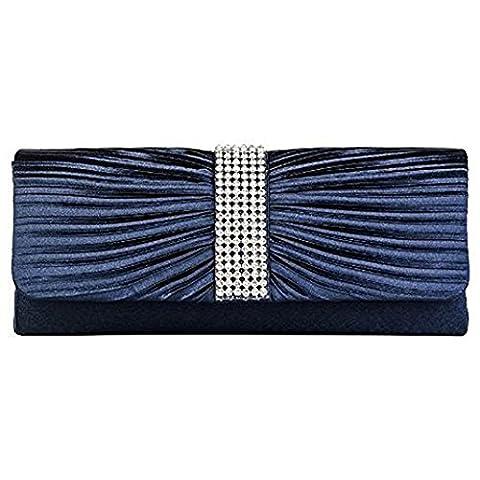 Eleoption Womens Satin Diamante Ladies Pleated Bow Wedding Bridal Prom Handbag Clutch Bag (navy blue)