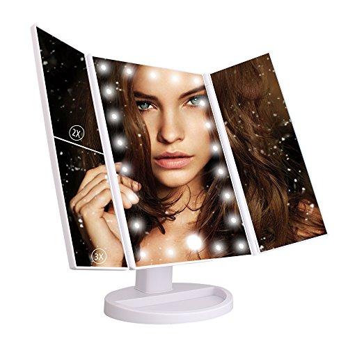 LED Espejo Cosmético Plegable Espejo de Maquillaje con 22 LED Luces Foldable, para Viaje Maquillaje Baño e Mesa (Blanco)