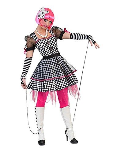 Kostüm Kleid Harlekin Größe 36/38 / Damen Schwarz Weiß Kariert Clown Clownskostüm Tüll Transparente Ärmel Karneval Fasching Pierro's (Marionette Kostüm Kleid)