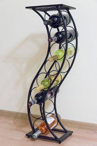 DanDiBo Weinregal aus Metall Schwarz Blumensäule Flaschenständer Elegance 80 cm Flaschenhalter Blumenständer