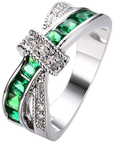 SaySure White Gold Filled Emerald Anniversary Wedding & Engagement Ring (Gold-emerald-cut-ringe Rose)