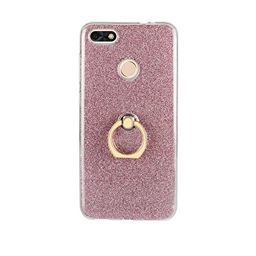 Soft Flexible TPU Back Cover Case Shockproof Schützende Shell mit Bling Glitter Sparkles und Kickstand für Huawei Changxiang Genießen Sie 7 ( Color : White ) Pink