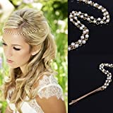 Damen Haarklammer Tropfen imitation Perlen Kette Haarschmuck, Brautschmuck, Haarnadeln Haarspiralen Quasten Haarspange Haarschmuck Kopfschmuck, Gold weiss
