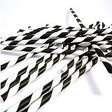 FRE J*myi 25-100 Stück Einweg trinken Strohhalme Papier Strohhalm gestreifte Trinkhalme (Black and white, 50 Stück)