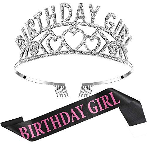 Chengu Geburtstag Mädchen Glitter Krone Strass Kristall Dekor Stirnband mit Geburtstag Mädchen Schärpe (Schwarz Rosa)