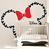 Wandtattoo Kinderzimmer Wandtattoo Schlafzimmer Mickey Minnie Mouse Wall Art Decal Aufkleber Mickey Mouse inspiriert Ohren mit Bogen & personalisierte Baby Name Minnie Mouse inspiriert Wandtattoos