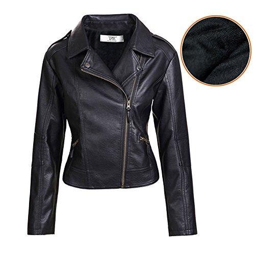 Donna Giubbotto Punk Stile Moto Collare Turndown Zip In Pelle Pu Cappotto Giacca