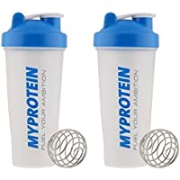 MY PROTEIN Myprotein Unisex Shaker Bottle (Pack of 2), Blue/Clear, 600 ml