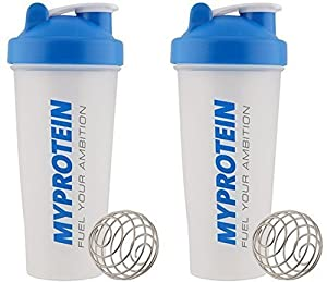 MY PROTEIN Myprotein Unisex's Shaker Bottle (Pack of 2), Blue/Clear, 600 ml