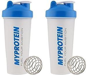 MY PROTEIN Myprotein Unisex Shaker Bottle (Pack of 2), Blue/Clear, 600 ml