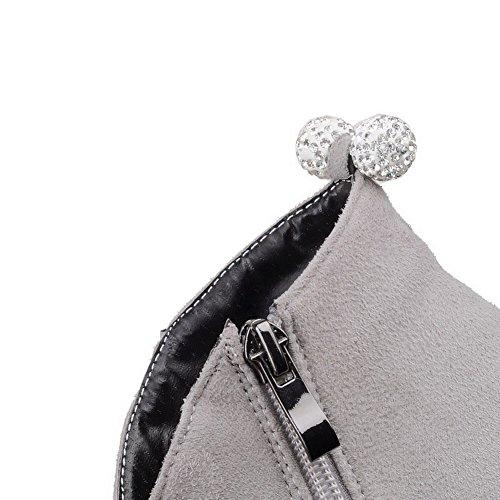 AgooLar Femme à Talon Correct Haut Bas Couleur Unie Zip Bottes avec Passepoil à Diamant Verre Gris