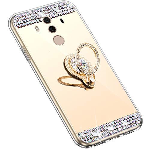 Uposao Kompatibel mit Huawei Mate 10 Pro Hülle mit 360 Grad Ring Ständer Glänzend Glitzer Strass Diamant Transparent TPU Silikon Handyhülle Ultra Dünn Durchsichtig Schutzhülle Case,Gold