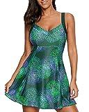 Damen Tankini Badeanzug Mit Röckchen Badekleid Mit Shorts Bademode Große Größen Strand Urlaub Grün S