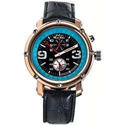 Mens Automatic Mechanical Watch Classic Black Leather Strap Rose Gold Case Graf von Monte Wehro AA101558G
