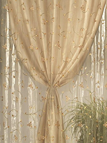 Home Collection TDS116 Tenda Doppia Shantung, Poliestere, Naturale, 140x290 cm