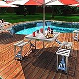 Home Buy New Heavy Duty Aluminium Portable Folding Picnic Table & Chairs Set with Umbrella