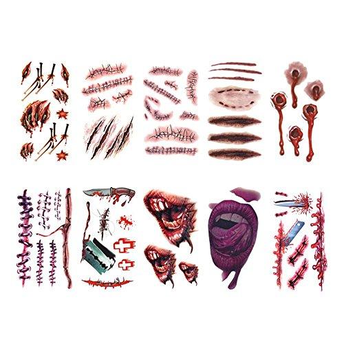 niceEshop(TM) 20 Stücke Scary Halloween Blut Narben Wunden Tattoo Wasserdichte Kunst 3D Aufkleber Cosplay Zubehör Für Halloween Party Prop und Cosplay Aufkleber