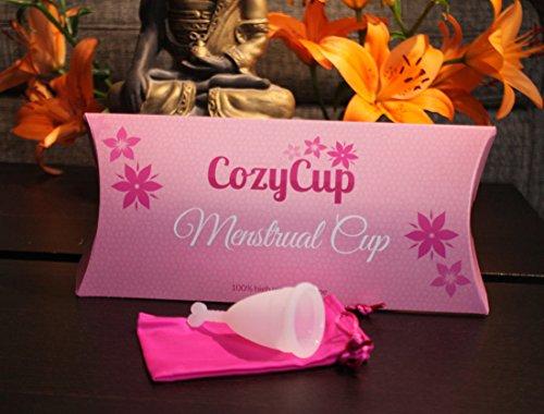 Menstruationstasse CozyCup klein - weiße Menstruationskappe aus medizinischem Silikon - beliebter Menstruationsbecher - Gr A (klein) - 2