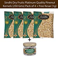 Sindhi Dry Fruits Platinum Quality Pinenut Kernels (250 GMS) Pack of 4 with Free Saffron