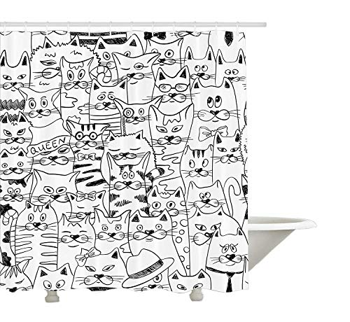 Yeuss Psychedelic Decor Collection, Katzen mit Kostümen Fliegen Humor Kitty Tier Childish Sketch-Stil-Illustration, Bad-Duschvorhang aus Polyestergewebe mit Haken, Schwarz Weiß