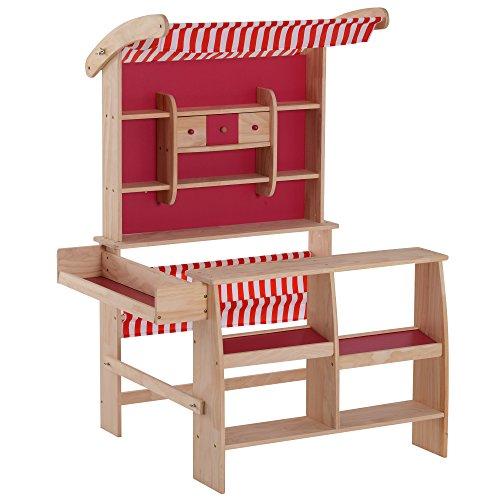 Homcom Tienda de Juguete Madera Soporte Puesto de Mercado de Juguete para Niños +3 Años Capota Roja 90x70x120cm