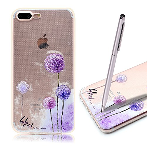 Coque iPhone 7 Plus , iPhone 7 Plus Etui TPU , CaseLover Fee Motif Mode Etui Coque TPU Slim pour Apple iPhone 7 Plus (5.5 pouces) Mode Flexible Souple Soft Case Couverture Housse Protection Anti rayur Pissenlit