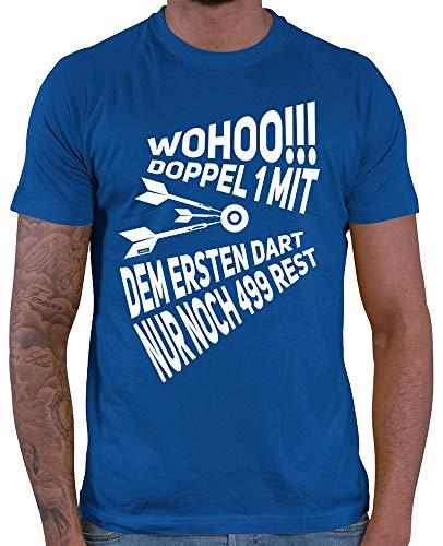 HARIZ Herren T-Shirt Wohoo Doppel 1 Rest 499 Dart Sprüche Dartscheibe WM Plus Geschenkkarte Royal Blau XL