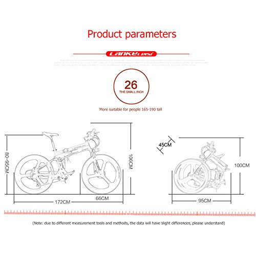 "51C3Xw4Ii8L. SS500  - GTYW Electric Folding Bicycle Mountain Bicycle Blue Kress Electric Bicycle 26"" Inch Shimano 27 Speed Oil Dish Panasonic Lithium Five Gear Booster Electric Vehicle"