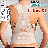 TOP & MARKE - Größe L bis XL - Rücken Schulter Bandage GERADEHALTER Rückenstabilisator Damen Herren zur Haltungskorrektur Lendenwirbel Rückenbandage für perfekte Haltung mit Magneten und verstellbare Träger