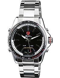 Shark SH003 - Reloj Digital Hombre, Correa de Acero Inoxidable Plateado