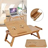 Bambus Laptoptisch Computertisch Laptop Ständer Betttablett mit Lüfter
