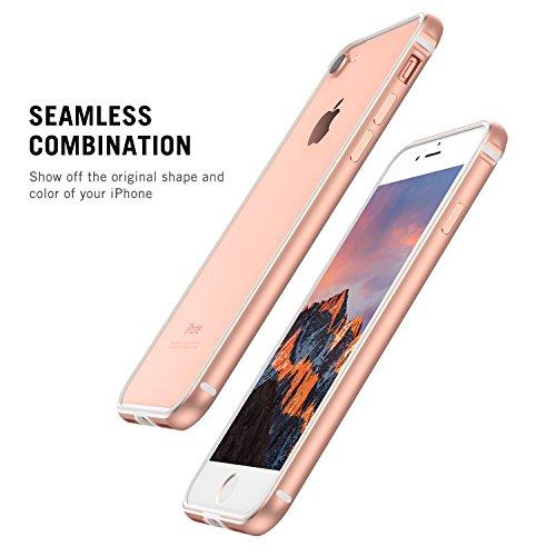 iPhone 7 Hülle, iPhone 8 Hülle, RANVOO Bumper Hülle Aluminium Rahmen + Innen Gepolstert TPU Metall Bumper case for iPhone 7/8 4,7 Zoll,Silber Roségold