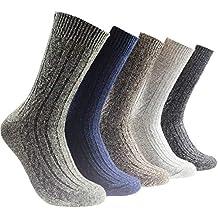 Miss Fortan 5 Pares de Calcetines de Lana de Alpaca Gruesos Calcetines Termicos Hombre para Invierno