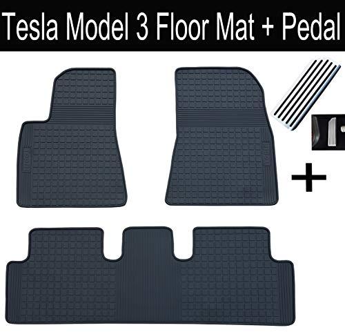 Topfit Allwetter-Fußmatten, wasserdicht, 3-teiliges Set, strapazierfähig, Schwarz Für Tesla Model 3