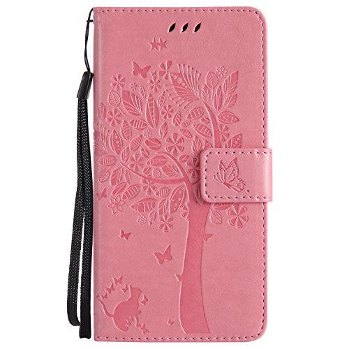 Chreey Motorola Moto G6 Hülle, Prägung [Katze Baum] Muster PU Leder Hülle Flip Case Wallet Cover mit Kartenschlitz Handyhülle Etui Schutztasche [Rosa]