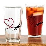 CafePress-Flugzeug rot Herz-Pint-Glas, 16oz Trinkglas farblos