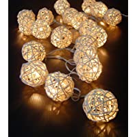 Bianco crema Rattan catena di luci a palla Catena di luci Fairy Light 220v 3 metri