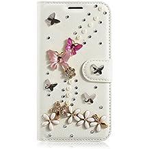 LG L Fino Funda, LG D295 Funda, Lifeturt [ mariposa de cristal ] Cubierta de la caja de cuero superior de la carpeta del libro para LG L Fino/D295