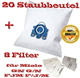 20 für Miele Staubbeutel Typ GN G/N FJM F/J/M + 8 Filter - Inhalt je Faltschachtel: 4 x 5 Staubbeutel + 4 x 1 Super Air Clean-Filter + 4 x 1 Motorschutzfilter - Staubbeutel GN FJM HyClean (Farbe: blau) Geeignet für: S 4xx, S 6xx, S 8xx, S 2xxx, S 5xxx , S 6xxx Staubbeutel Auch geeignet für:ALLERGY CONTROL , ALLERVAC SENSOR, AUTOMATIC TT 5000, BABY CARE, BIG CAT & DOG, BLUE MOON, BRILLANT 6600, CAT & DOG, TURBO